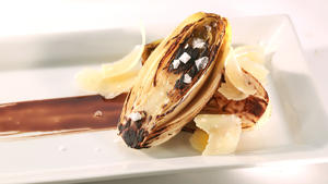 Charred endive with balsamic and shaved Parmigiano-Reggiano