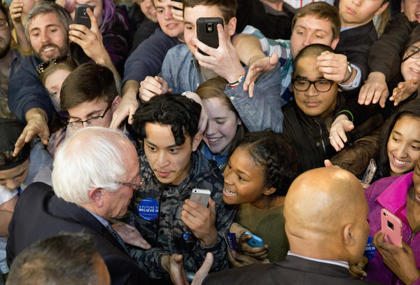 Bernie Sanders shakes hands with supporters in Kansas City, Mo., on Wednesday. (Jacquelyn Martin / Associated Press)