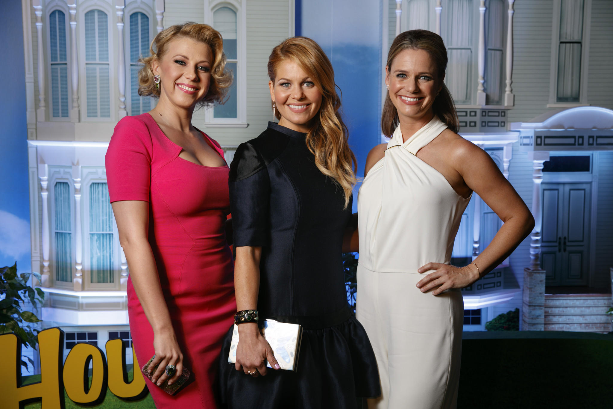 "Jodie Sweetin, Candace Cameron Bure and Andrea Barber, from left, at the ""Fuller House"" premiere in Los Angeles on Feb. 16, 2016."