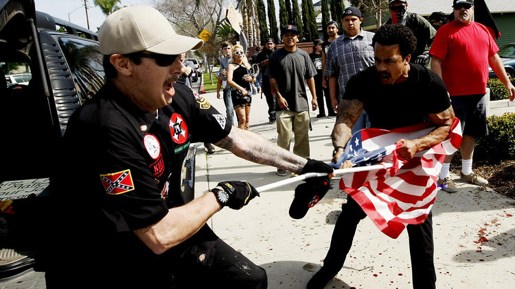 Ku Klux Klan rally in Anaheim erupts in violence