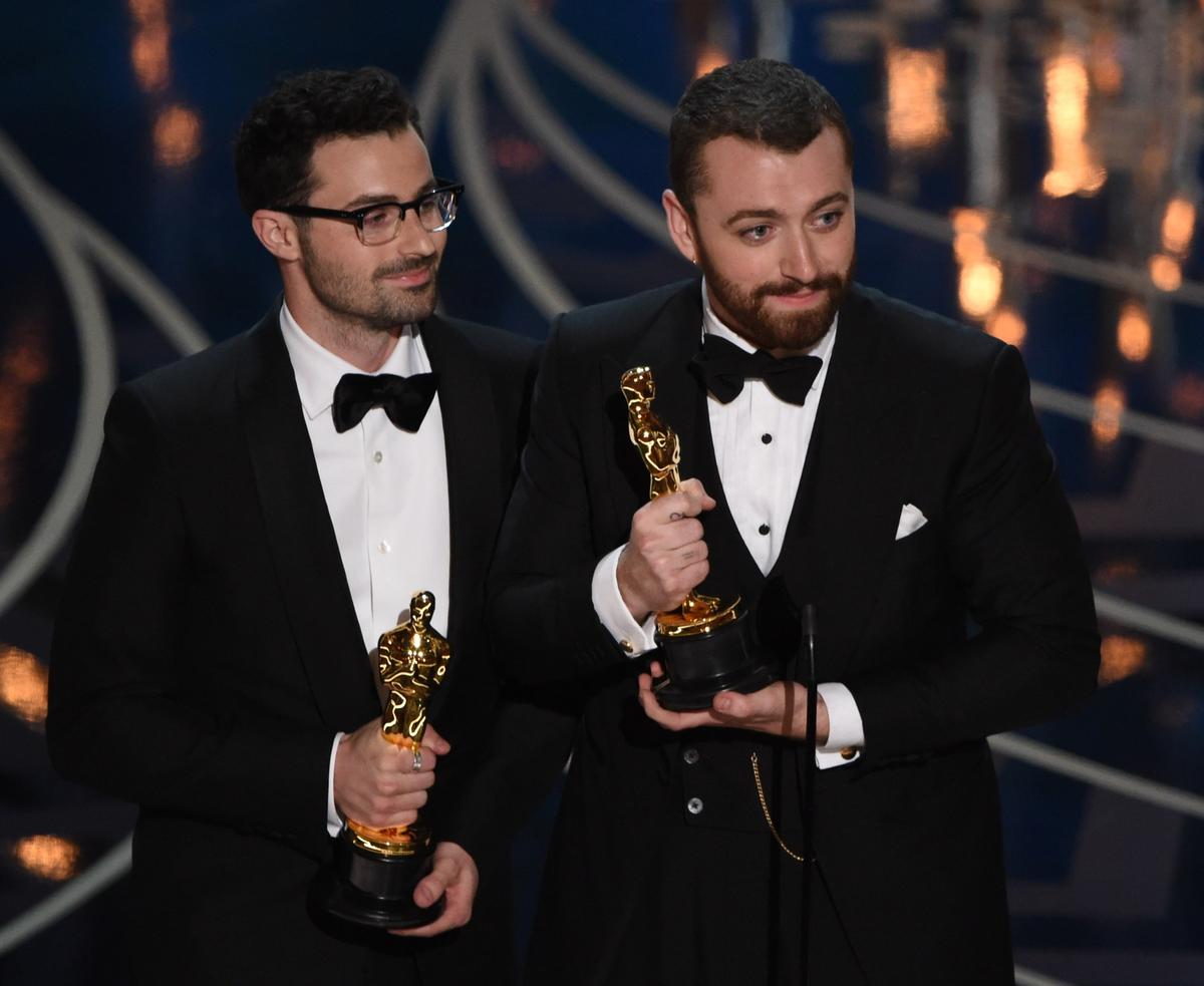 Sam Smith and Jimmy Napes win at the 88th Academy Awards. (Mark Ralston / AFP/Getty Image)