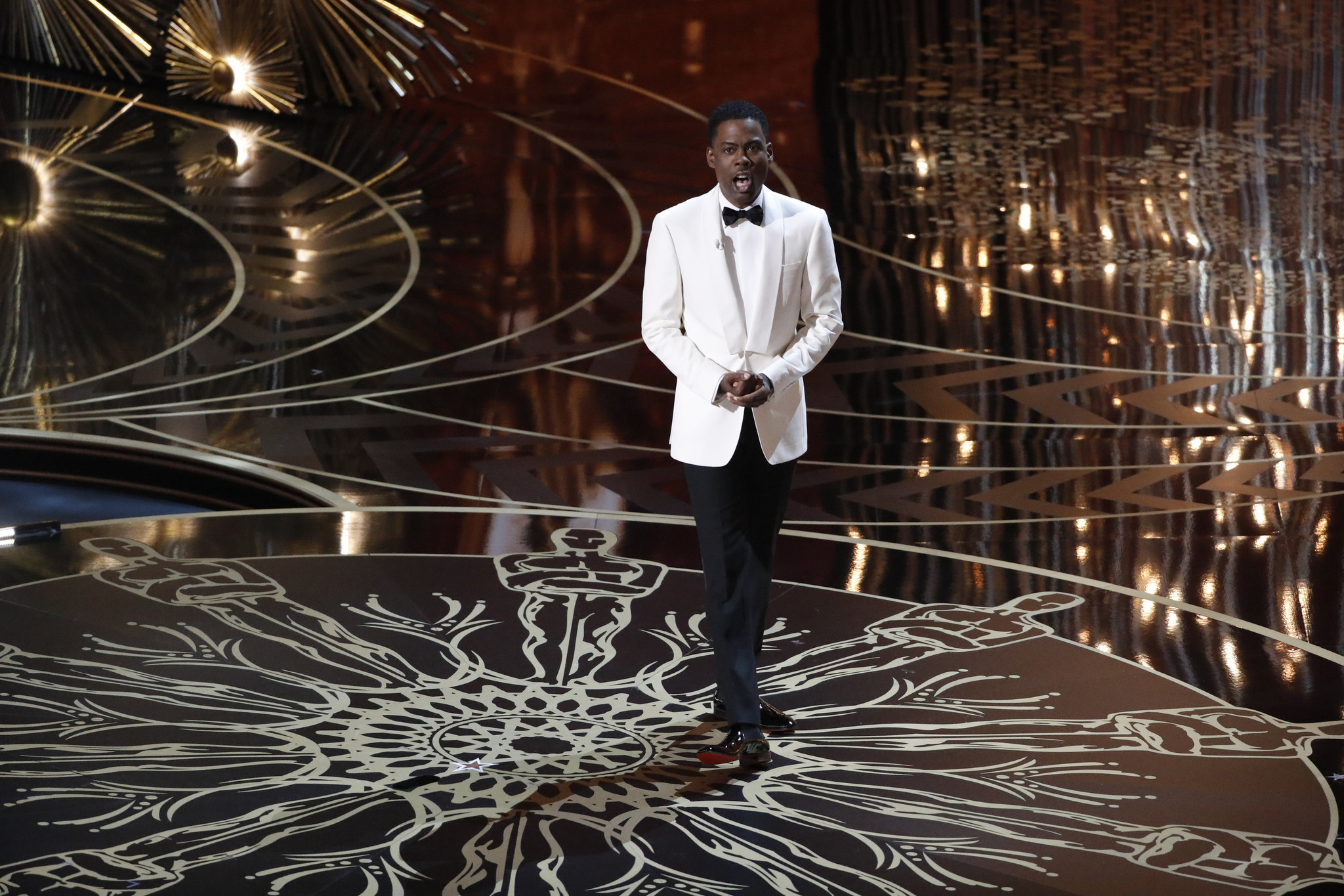 Chris Rock addresses the audience as host of the 88th Academy Awards on Sunday. (Robert Gauthier / Los Angeles Times)