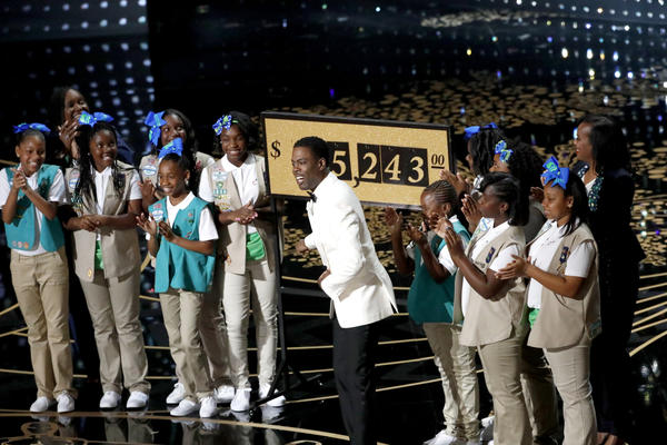 The Girl Scout cookie moment: Chris Rock paused his #OscarsSoWhite theme during the Academy Awards telecast for some less-controversial fun — a Girl Scout cookie sale that raised $65,243 for the L.A. troop. (Robert Gauthier)