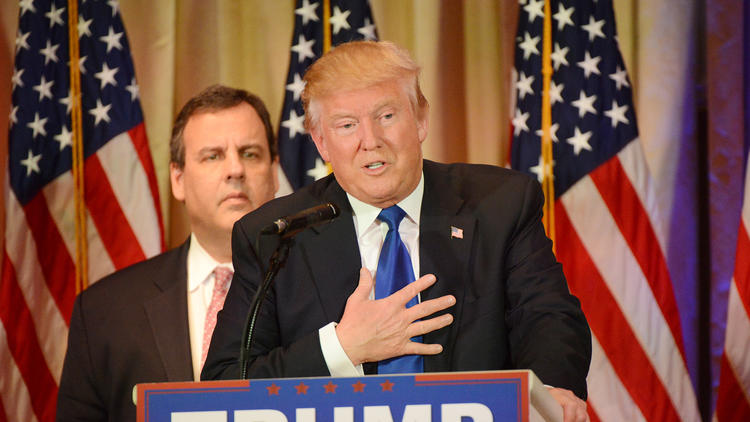 Donald Trump, with New Jersey Gov. Chris Christie, talks to reporters after his Super Tuesday victories. (Jim Rassol / Sun Sentinel)