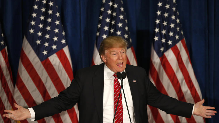 Donald Trump speaks at campaign stop Thursday in Portland, Maine. (Robert F. Bukaty / Associated Press)
