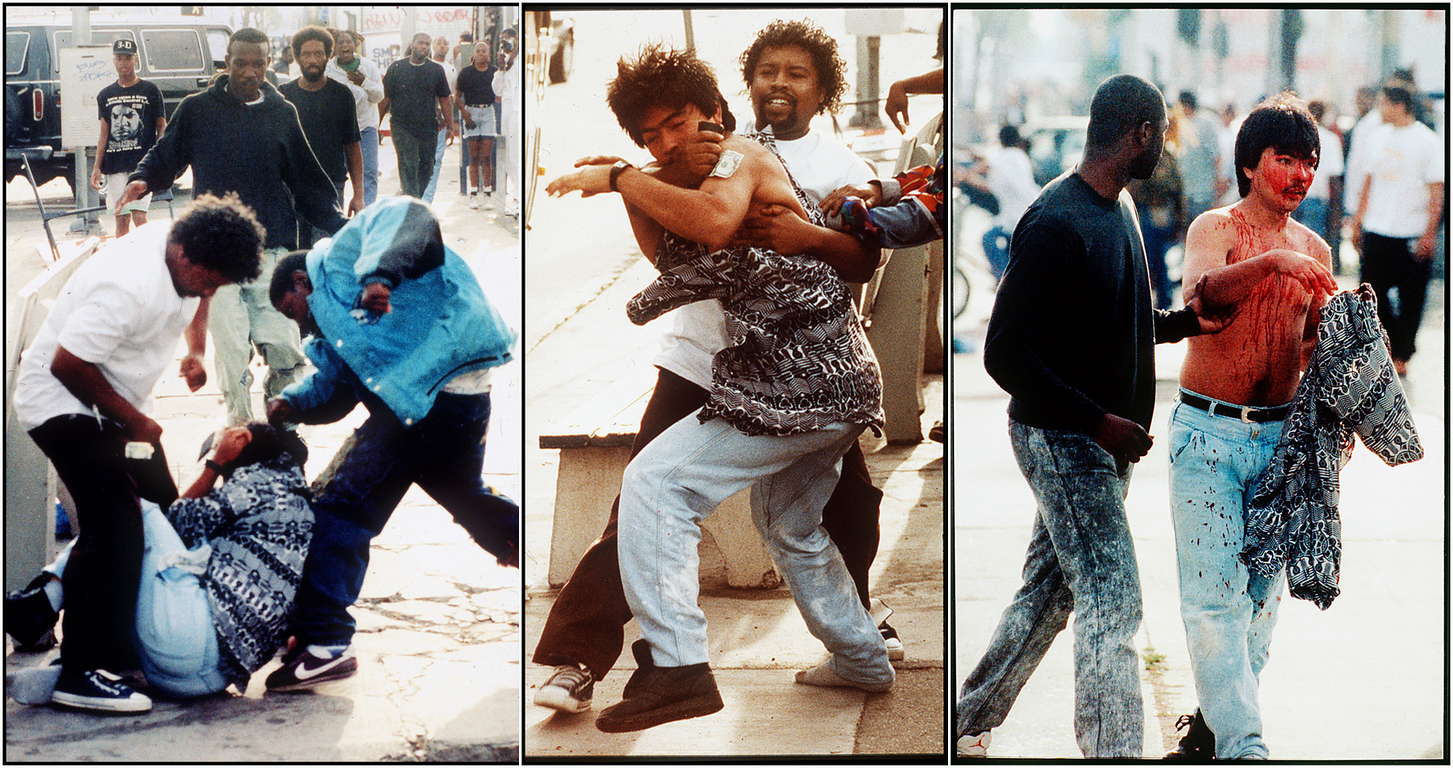 Three images in a series of a man being beaten, and then led to safety.