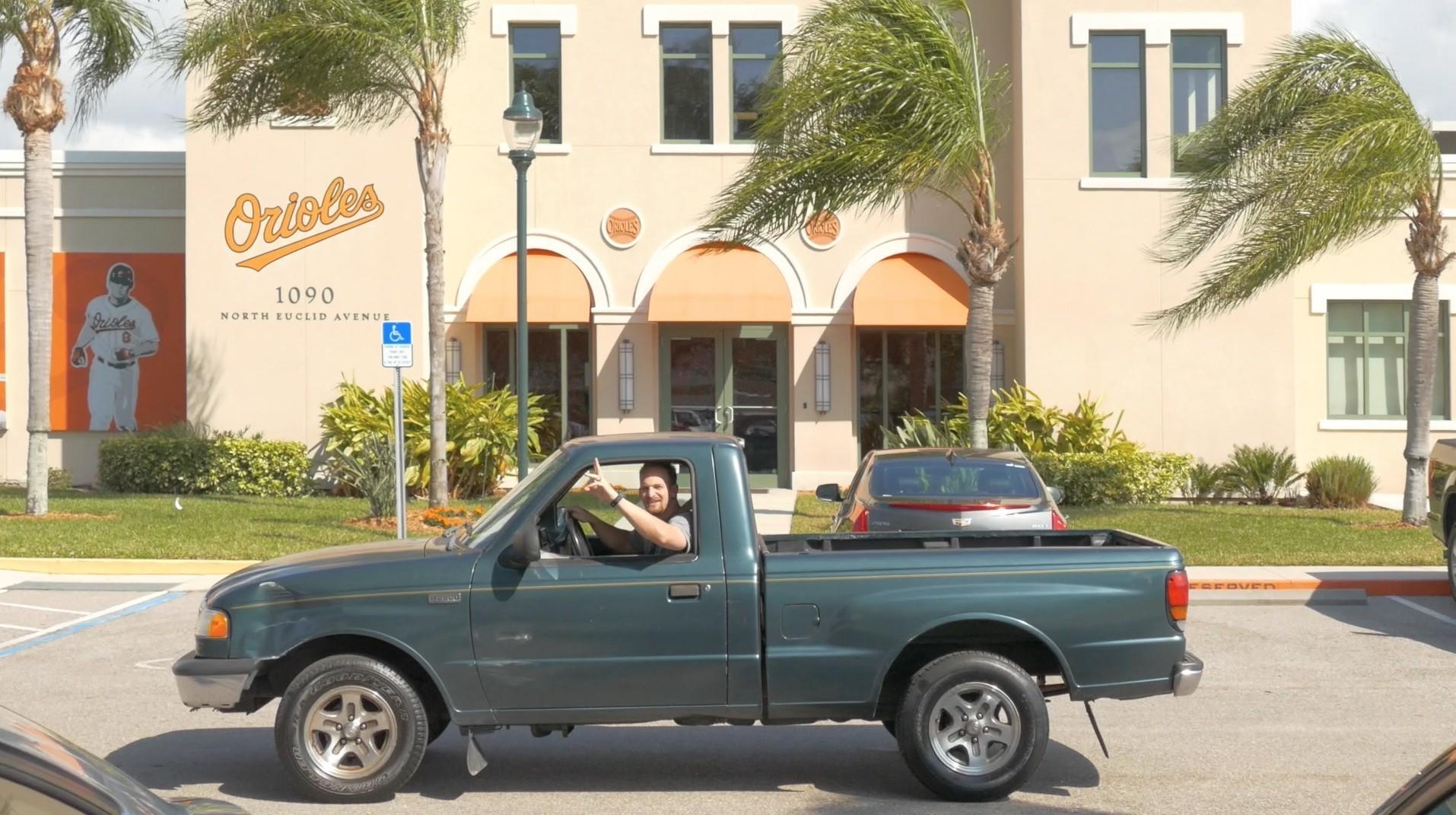 Caleb Joseph drives his old truck - Baltimore Sun