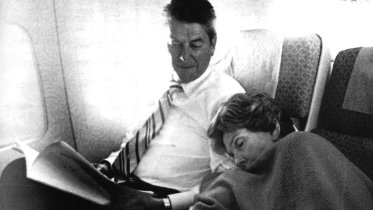 Nancy Reagan rests on a flight to Salt Lake City during the 1976 presidential campaign. Ronald Reagan narrowly lost the Republican nomination to Gerald Ford. (Associated Press)