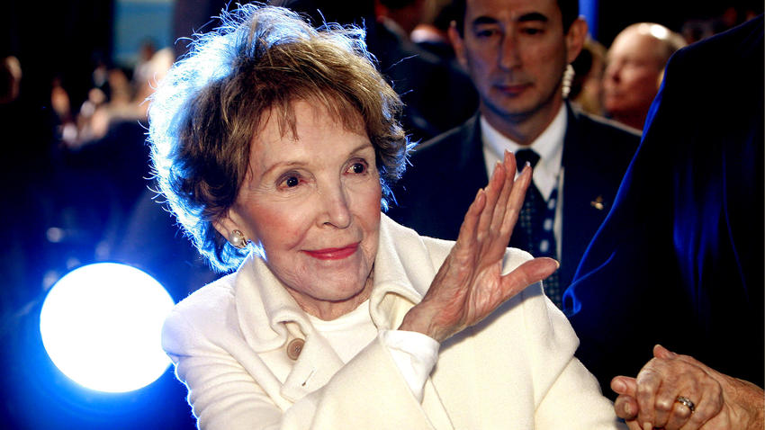 Nancy Reagan after a GOP presidential debate at the Reagan Presidential Library. (Paul Buck / EPA)