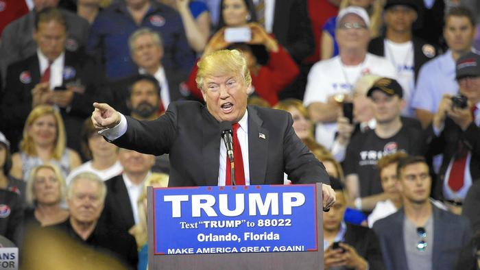 Donald Trump at a rally Friday in Orlando, Fla. (Carolyn Cole / Los Angeles Times)