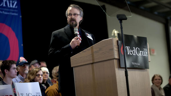 Pastor Tim Remington leads a prayer during a rally for Republican presidential hopeful Ted Cruz in Coeur d'Alene, Idaho, on Saturday. (Kathy Plonka / Spokesman-Review) None