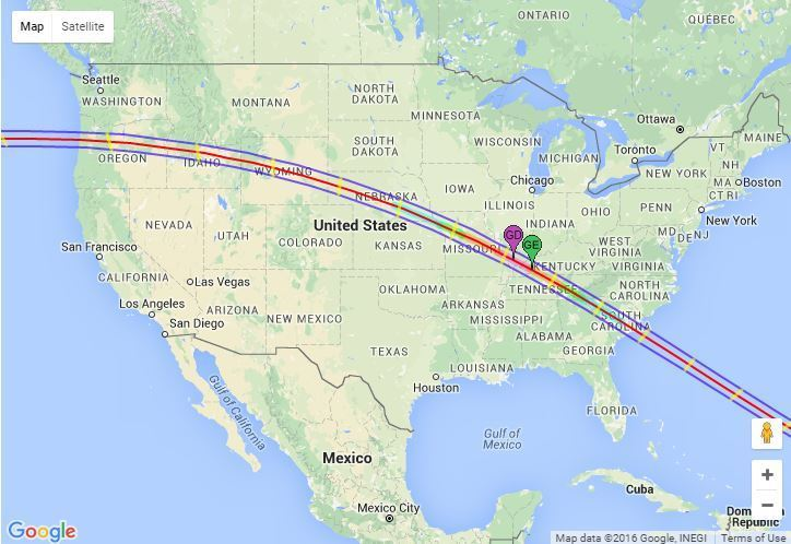 Watch Highlights From The Total Solar Eclipse - Solar location map