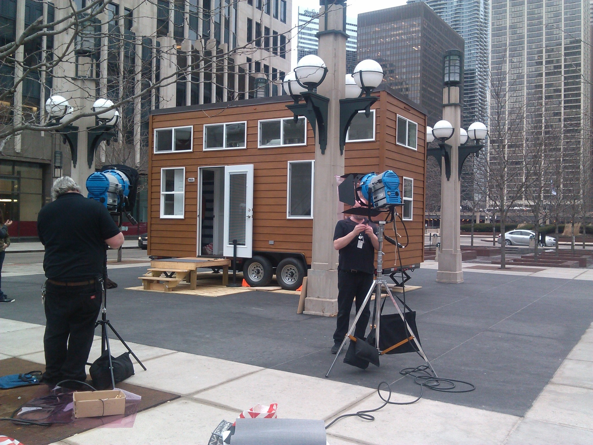 tiny house set up outside nbc tower for 'steve harvey' taping