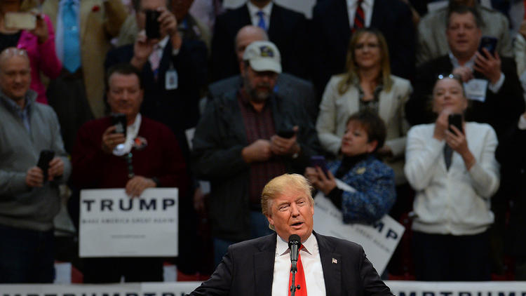 Donald Trump speaks to supporters during a rally at the Cabarrus Arena in Concord, N.C., (Jeff Siner / TNS)