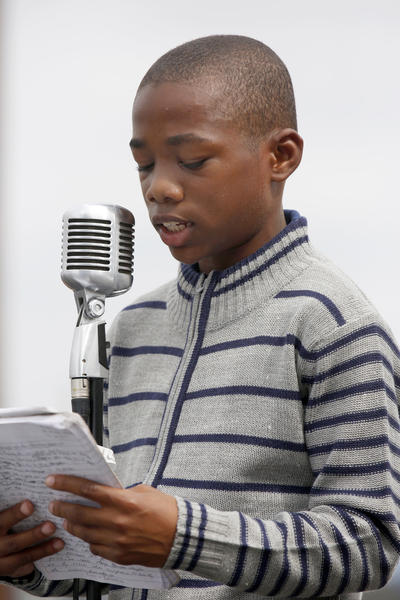 Nathan Muhammad, 11, shares his speech.