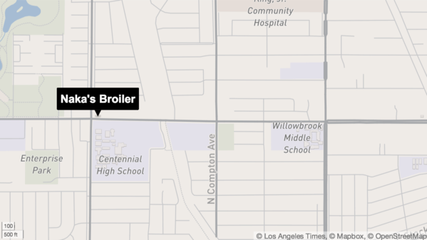 Naka's Broiler and Centennial High School, both in the northwest corner of Compton.