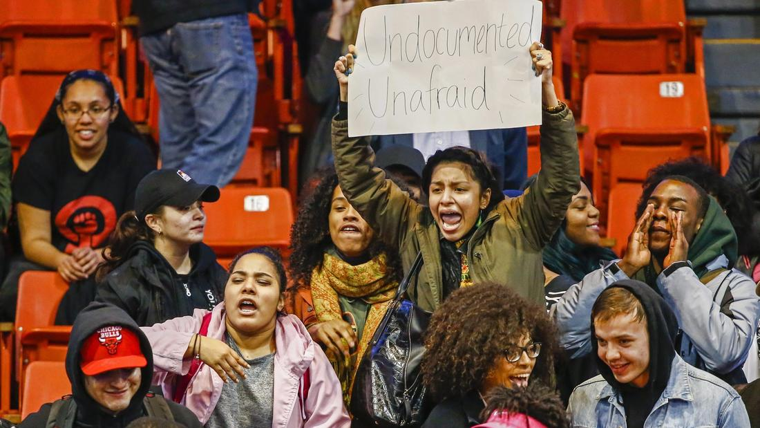 Protesters shout down a rally scheduled by Republican presidential candidate Donald Trump at the University of Illinois-Chicago. The rally was canceled out of concern for public safety. (Tannen Maury / European Pressphoto Agency)