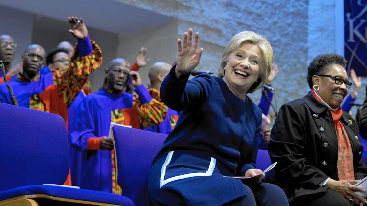 Hillary Clinton with Rep. Marcia Fudge (D-Ohio) during a service at Mount Zion Fellowship Church in Highland Hills, Ohio, on March 13. (Carolyn Kaster / Associated Press)