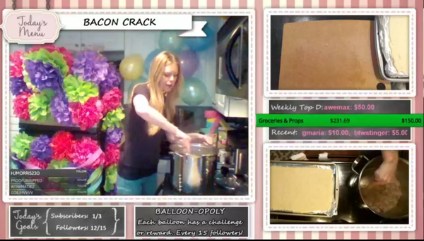Christine Ward live-streams to Twitch while she cooks in her kitchen. Above, a screen shot from a recent stream.