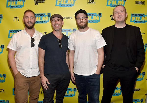 "Director Evan Goldberg, left, showrunner Sam Catlin, director Seth Rogen and author Garth Ennis attend the screening of ""Preacher"" during the 2016 SXSW Music, Film + Interactive Festival at Paramount Theatre in Austin, Texas. (Mike Windle / Getty Images for SXSW)"