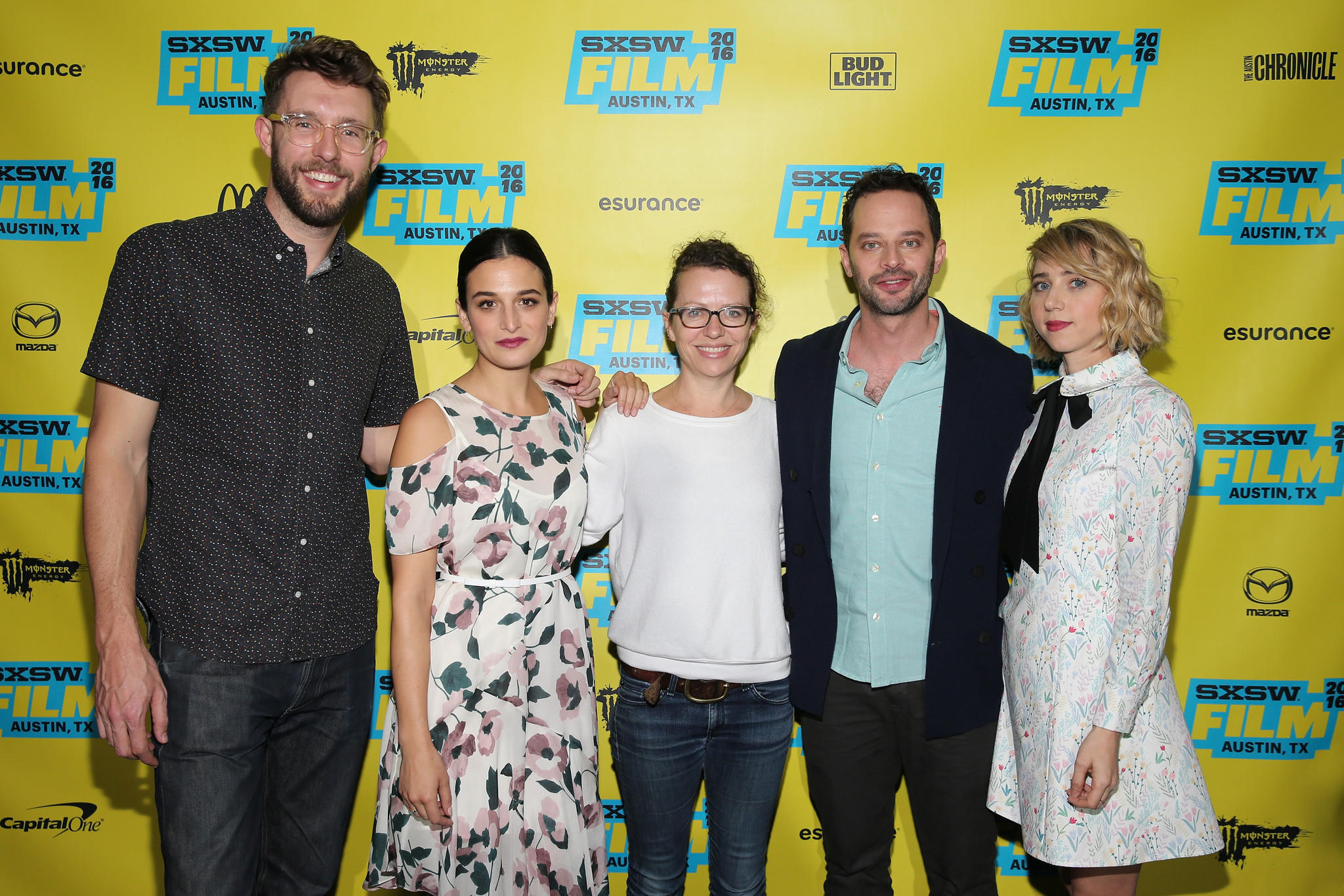 "Charlie Hewson, from left, Jenny Slate, Sophie Goodhart, Nick Kroll and Zoe Kazan attend the ""My Blind Brother"" premiere at the South by Southwest festival in Austin, Texas, on Saturday. (Neilson Barnard / Getty Images)"