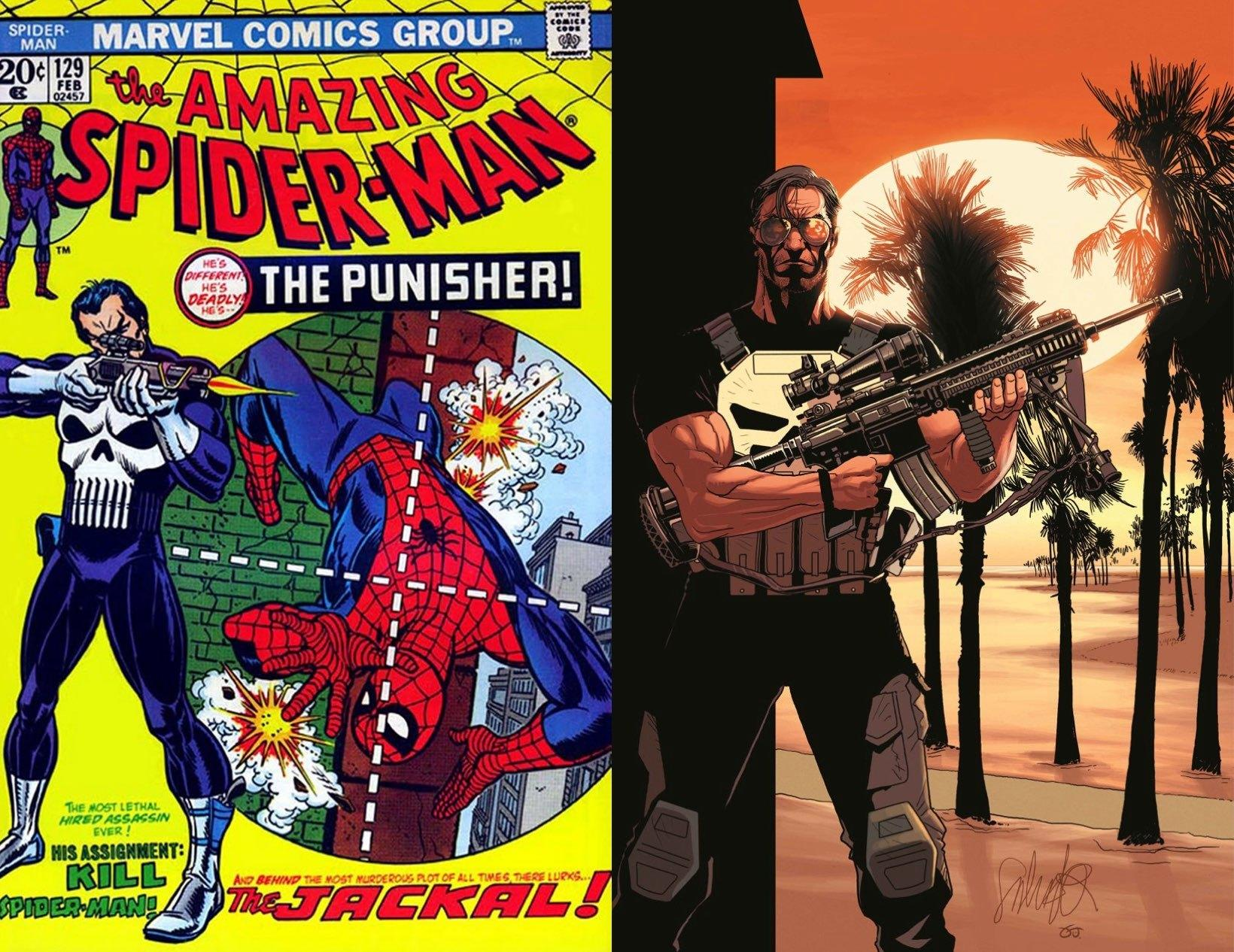 "The Punisher's first appearance in ""Amazing Spider-Man"" (1974), left; ""The Punisher"" No. 1 (2014) variant cover by Salvador Larroca"