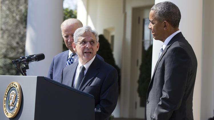 Federal appeals court Judge Merrick Garland, center, speaks as President Barack Obama, right, and Vice President Joe Biden listen during an announcement in the White House Rose Garden on Wednesday. (Evan Vucci / Associated Press)