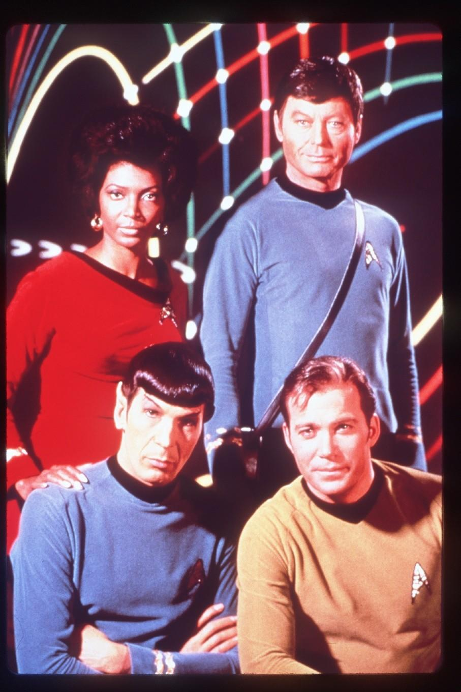 "Nichelle Nichols, clockwise from left, with DeForest Kelley, William Shatner and Leonard Nimoy in their ""Star Trek"" days."