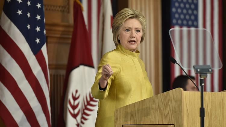 Hillary Clinton gives a speech on counter-terrorism Wednesday at Stanford University. (John G. Mabanglo / European Pressphoto Agency)