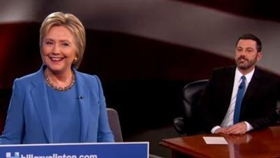 Hillary Clinton gets mansplained by Jimmy Kimmel