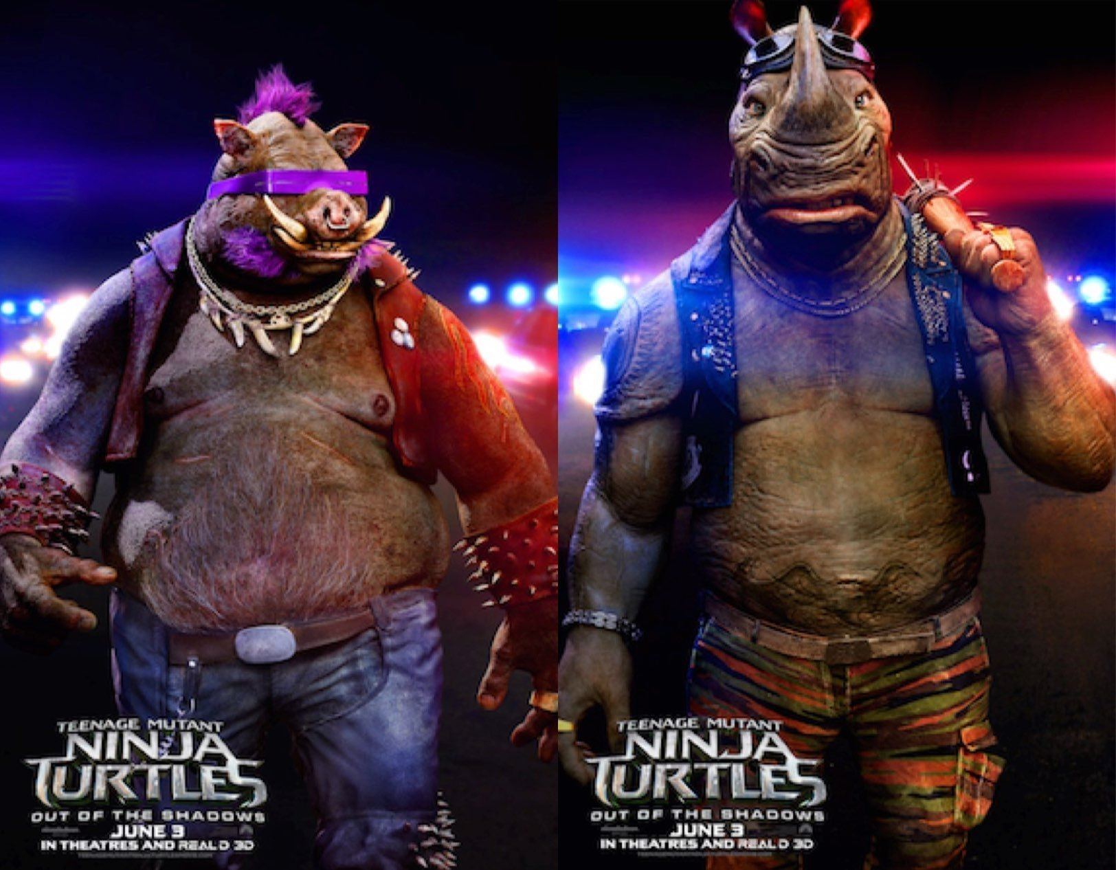 Ninja Turtles 2 Out of the Shadows posters van Bebop & Rocksteady