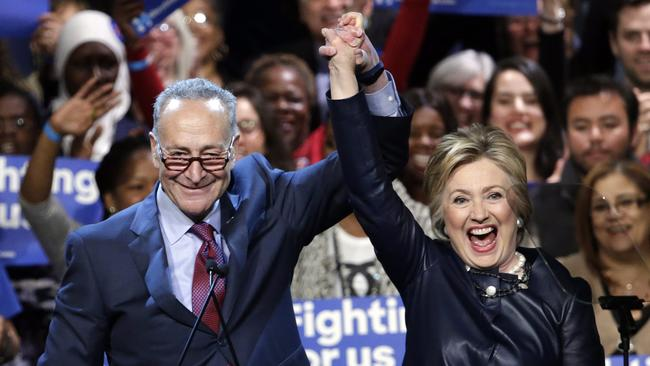 Sen. Charles E. Schumer (D-N.Y.) introduces Democratic presidential candidate Hillary Clinton during a campaign event at the Apollo Theater in Harlem. (Jason Szenes / European Pressphoto Agency)