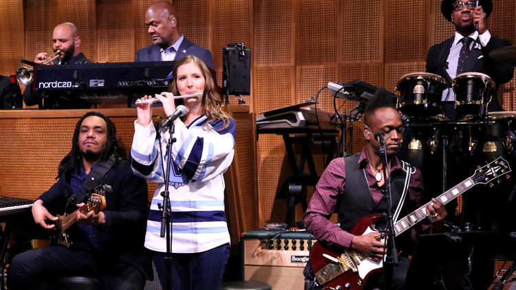 "Villanova Pep Band piccolo player Roxanne Chalifoux performs with The Roots last year on ""The Tonight Show Starring Jimmy Fallon."" (Douglas Gorenstein / NBC)"