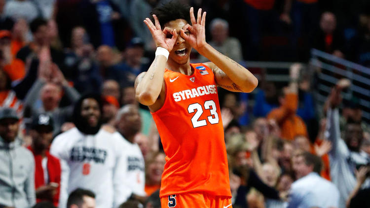 Syracuse guard Malachi Richardson celebrates after making a three-pointer against Virginia in the Midwest Regional final. (Jamie Squire / Getty Images)