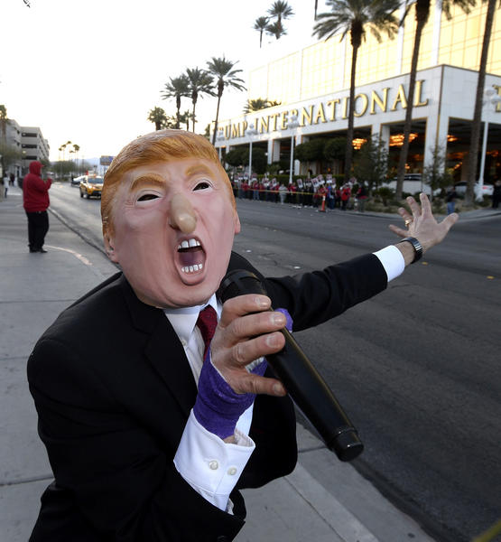 A union member protests outside Donald Trump's hotel in Las Vegas.