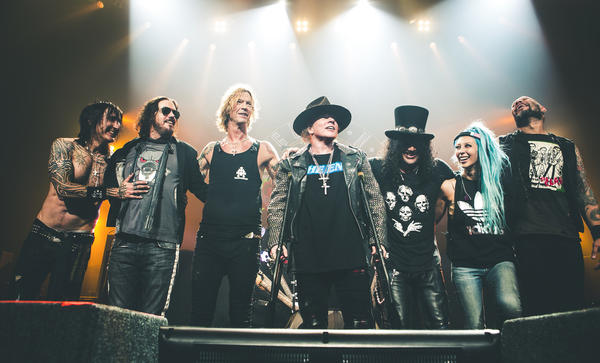 Guns N' Roses' current lineup features, from left, Richard Fortus, Dizzy Reed, Duff McKagan, Axl Rose, Slash, Melissa Reese and Frank Ferrer. (Katarina Benzova)