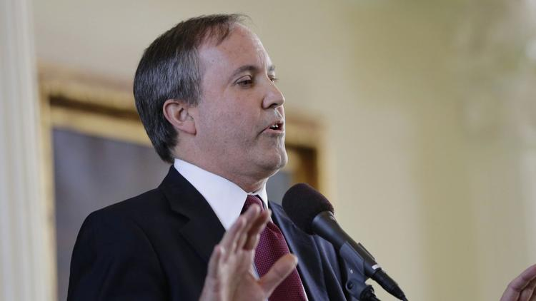 Ken Paxton speaks after he was sworn in as Texas attorney general in Austin on Jan. 5, 2015. (Eric Gay / Associated Press)