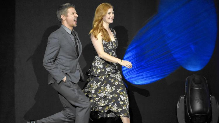 Jeremy Renner and Amy Adams at the Paramount Pictures presentation at CinemaCon in Las Vegas. (Chris Pizzello / Invision)