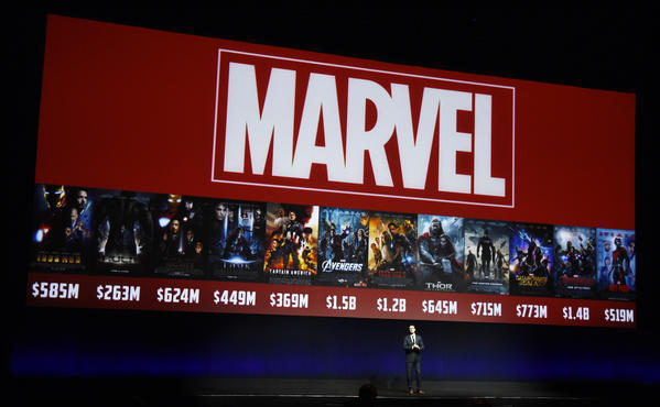 Dave Hollis, executive vice president of theatrical distribution for Walt Disney Studios Motion Pictures, discusses the studio's Marvel films at CinemaCon 2016. (Chris Pizzello / Invision / Associated Press)