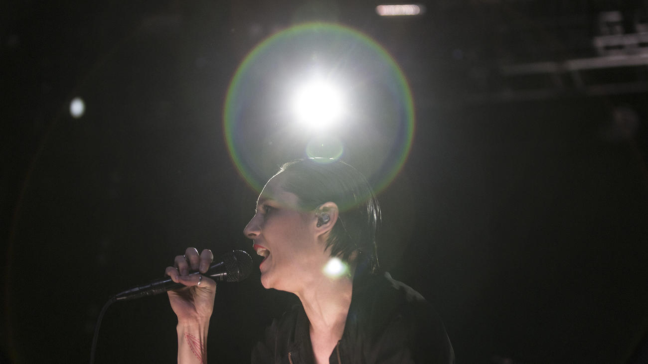Savages singer Jehnny Beth onstage at the Coachella Valley Music and Arts Festival. (Brian van der Brug / Los Angeles Times)