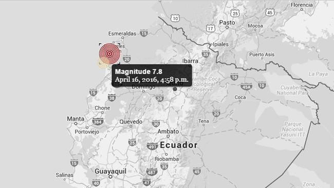 7.4 quake reported in Ecuador