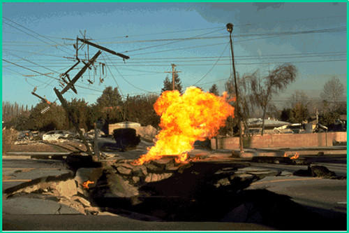 Lateral spreading ruptured gas mains in the 1994 Northridge earthquake, igniting fires and making roads impassable.