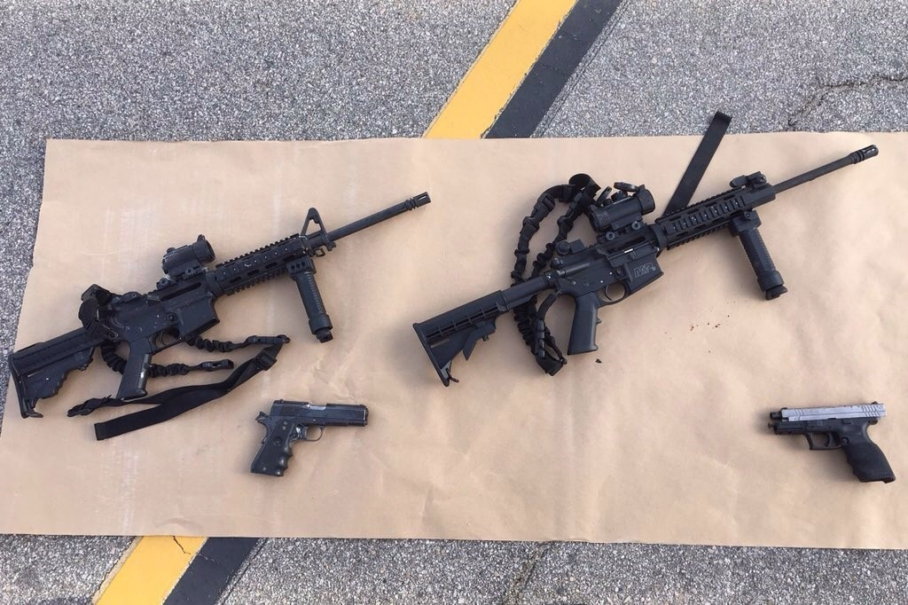 Recovered weapons are displayed near the scene of the police confrontation with assailants after the 2015 San Bernardino mass shooting. (San Bernardino County Sheriff's Department)