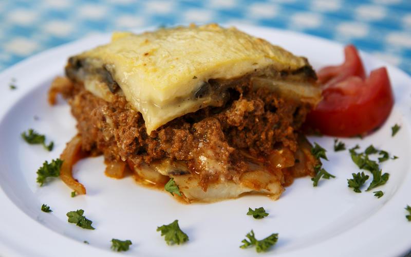 Papa Cristo's meat moussaka