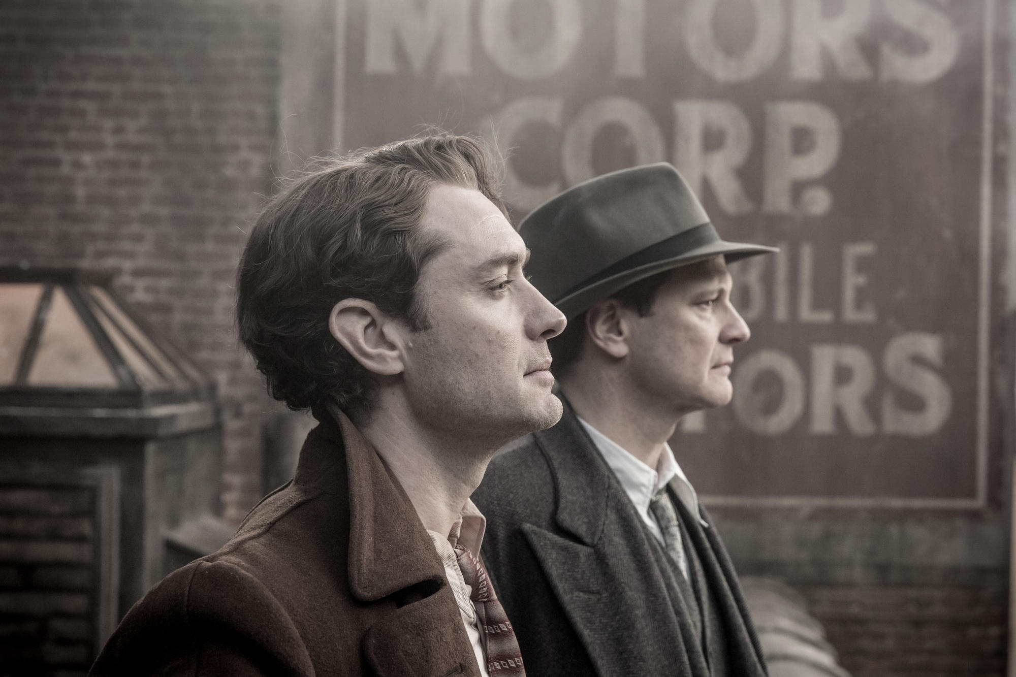 "Jude Law, left, as Thomas Wolfe and Colin Firth as Max Perkins in ""Genius."""