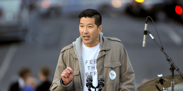 Paul Y. Song at the fateful Sanders rally at which he gave Twitter users something new to get outraged about.