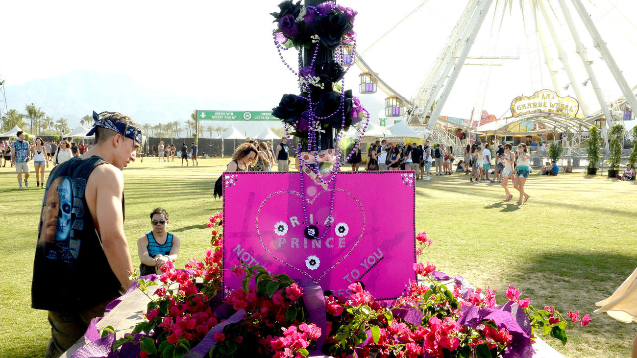 A memorial to Prince is seen during the first day of Weekend 2 at Coachella. (Matt Cowan / Getty Images for Coachella)
