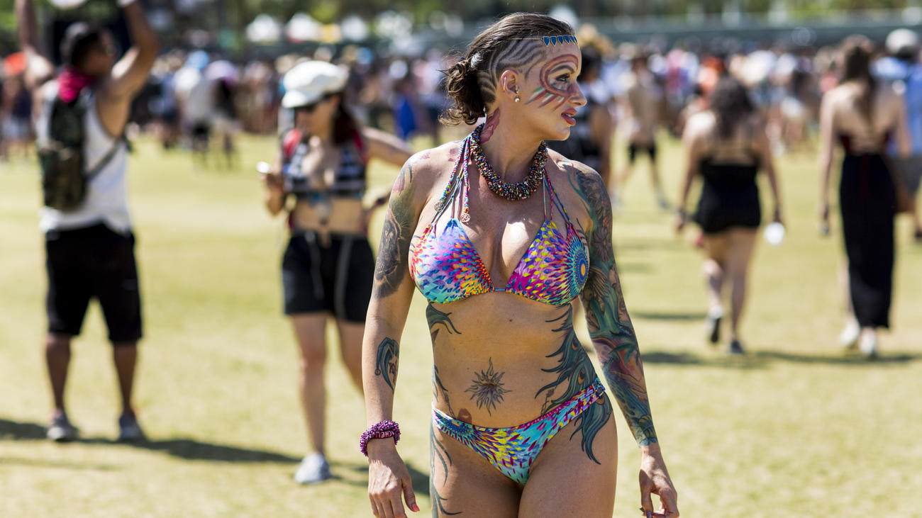 Model and artist Chris De King walks the festival grounds Friday. (Jay L. Clendenin / Los Angeles Times)