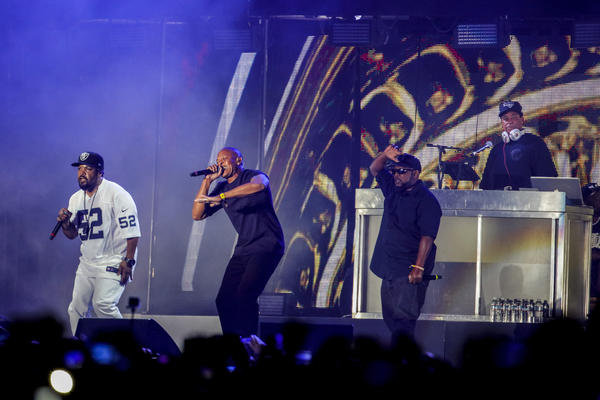 Dr. Dre, center, joins Ice Cube and members of N.W.A onstage during weekend two of the Coachella Valley Music and Arts Festival. (Jay L. Clendenin / Los Angeles Times)