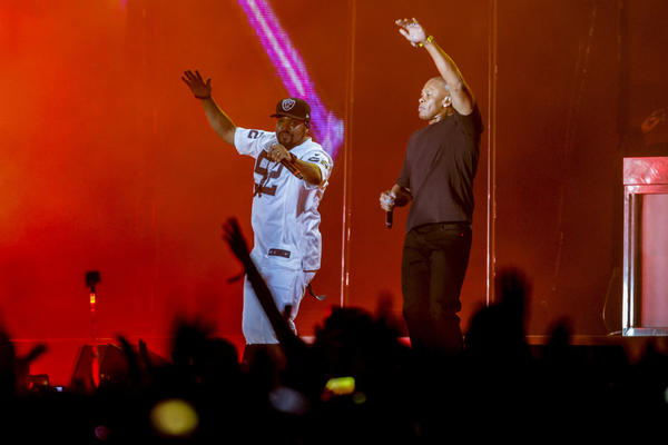 Ice Cube, left, onstage with Dr. Dre at Coachella (Jay L. Clendenin / Los Angeles Times)
